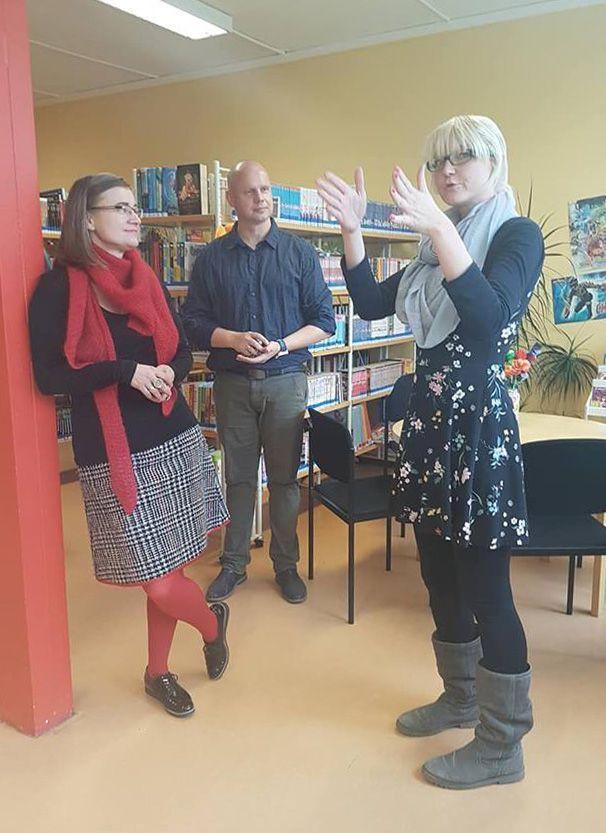 Anke Domscheit-Berg mit Tino Haberecht und Nadine Sternberg Fouqué-Bibliothek in Hohenstücken