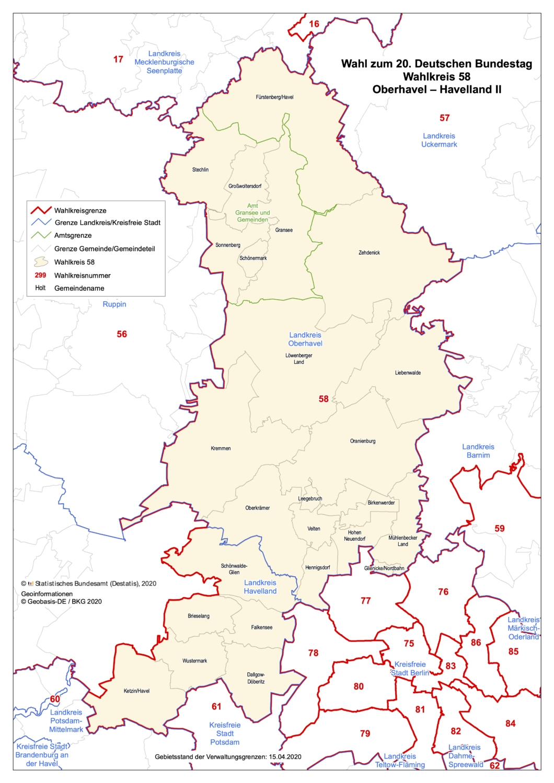 Karte des Wahlkreis 58 der Wahl zum 20. Deutschen Bundestag (Oberhavel - Havelland 2)